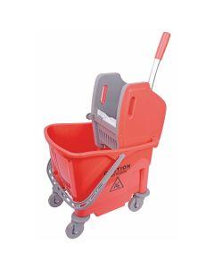 25L Buffalo Kentucky Mop Castor Bucket & Wringer - Red
