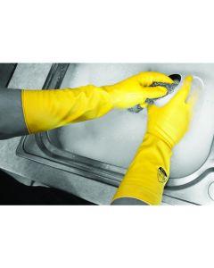 Deep Sink 40cm Extra Long Flock Lined Rubber Glove - Yellow - Medium
