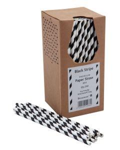Paper Straws - Black & White 200 x 6mm