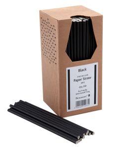 Paper Straws - Black 200 x 6mm