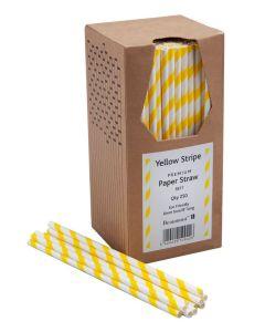 Paper Straws - Yellow & White 200 x 6mm